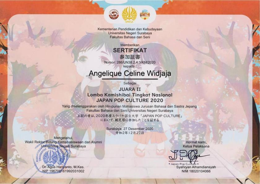 CONGRATULATIONS TO ANGELIQUE CELINE WIDJAJA FOR BEING THE 2ND WINNER IN THE JAPANESE LANGUAGE COMPETITION AT THE KAMISHIBAI UNIVERSITAS NEGERI SURABAYA