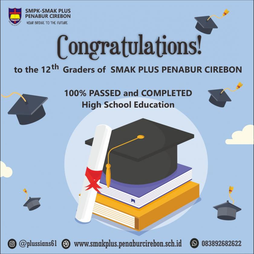 CONGRATULATIONS FOR 100% PASSED & COMPLETED HIGH SCHOOL EDUCATION (THE 12th GRADERS OF SMAK PLUS PENABUR CIREBON)